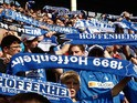 The Fans of TSG 1899 Hoffenheim celebrate after winning during the Bundesliga match TSG 1899 Hoffenheim against Borussia Moenchengladbach at the Carl Benz stadium in Mannheim on August 23, 2008 in Mannheim, Germany.