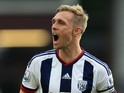 Darren Fletcher of West Bromwich Albion celebrates his team's 1-0 win in the Barclays Premier League match between Aston Villa and West Bromwich Albion at Villa Park on September 19, 2015 in Birmingham, United Kingdom