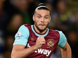 Andy Carroll of West Ham in action during the Capital One Cup Third Round match between Leicester City and West Ham United at The King Power Stadium on September 22, 2015 in Leicester, England.