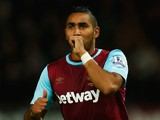 Dimitri Payet of West Ham United celebrates scoring his second goal during the Barclays Premier League match between West Ham United and Newcastle United at the Boleyn Ground on September 14, 2015 in London, United Kingdom.