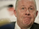 Ireland assistant coach Liam Brady attends the Republic of Ireland football press conference at the FAI headquarters on April 8, 2008 in Dublin, Republic of Ireland.