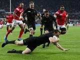 Ben Smith of the New Zealand All Blacks scores the first try during the 2015 Rugby World Cup Pool C match between New Zealand and Tonga at St James' Park on October 9, 2015 in Newcastle upon Tyne, United Kingdom.