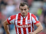 Xherdan Shaqiri of Stoke City during the Barclays Premier League match between Stoke City and Leicester City on September 19, 2015 in Stoke on Trent, United Kingdom.