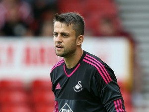 Lukasz Fabianski of Swansea City during the pre season friendly match between Nottingham Forest and Swansea City at City Ground on July 25, 2015