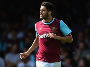 Stephen Hendrie of West Ham United in action during the pre season friendly match between Southend United and West Ham United at Roots Hall on July 18, 2015 in Southend, England.