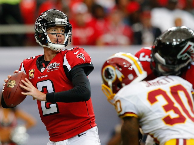 Matt Ryan #2 of the Atlanta Falcons looks to pass against Washington Redskins at Georgia Dome on October 11, 2015 in Atlanta, Georgia.