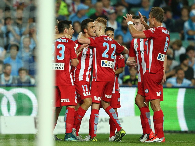 Wade Dekker of Melbourne City FC celebrates scoring a goal during the round one A-League match between Sydney FC and Melbourne City FC at Allianz Stadium on October 10, 2015