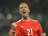 Austria's Marc Janko celebrates after scoring during the Euro 2016 Group G qualifying football match between Austria and Liechtenstein at the Ernst-Happel-Stadium in Vienna on October 12, 2015