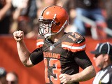 Josh McCown #13 of the Cleveland Browns celebrates after a touchdown by Gary Barnidge #82 (not pictured) during the third quarter against the Oakland Raiders at FirstEnergy Stadium on September 27, 2015