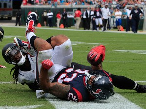 Arian Foster #23 of the Houston Texans crosses the goal line for a touchdown during the game against the Jacksonville Jaguars at EverBank Field on October 18, 2015