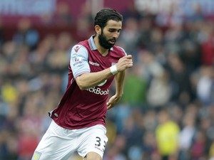 Jose Angel Crespo of Aston Villa during the Barclays Premier League match between Aston Villa and Stoke City at Villa Park on October 3, 2015 in Birmingham, England.