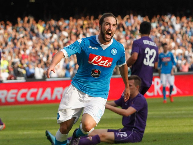 Gonzalo Higuain of Napoli celebrates after scoring his team's second goal during the Serie A match between SSC Napoli and ACF Fiorentina at Stadio San Paolo on October 18, 2015