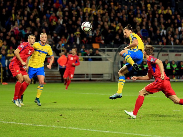 Zlatan Ibrahimovic of Sweden heads a shot at goal during the UEFA EURO 2016 Qualifying match between Sweden and Moldova at the National Stadium Friends Arena on October 12, 2015