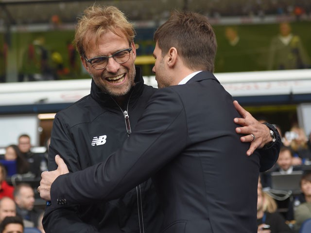 Jurgen Klopp, manager of Liverpool and Mauricio Pochettino Manager of Tottenham Hotspur greet prior to the Barclays Premier League match between Tottenham Hotspur and Liverpool at White Hart Lane on October 17, 2015