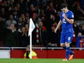 Gareth Barry of Everton leaves the pitch after being shown a red card during the Barclays Premier League match between Arsenal and Everton at Emirates Stadium on October 24, 2015 in London, England.