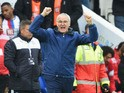 Claudio Ranieri Manager of Leicester City celebrates his team's 1-0 win in the Barclays Premier League match between Leicester City and Crystal Palace at The King Power Stadium on October 24, 2015