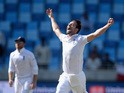 Mark Wood of England celebrates dismissing Younis Khan of Pakistan during day three of the 2nd test match between Pakistan and England at Dubai Cricket Stadium on October 24, 2015