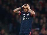 Arturo Vidal of Bayern Munich reacts during the UEFA Champions League Group F match between Arsenal FC and FC Bayern Munchen at Emirates Stadium on October 20, 2015 in London, United Kingdom.