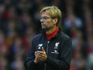 Jurgen Klopp, manager of Liverpool looks on during the Barclays Premier League match between Liverpool and Southampton at Anfield on October 25, 2015 in Liverpool, England.