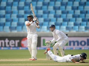 Pakistan's Misbah-ul-Haq plays a shot during day one of the second Test against England in Dubai on October 22, 2015