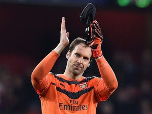Arsenal's Czech goalkeeper Petr Cech acknowledges the fans following the UEFA Champions League football match between Arsenal and Bayern Munich at the Emirates Stadium in London, on October 20, 2015. Arsenal won the match 2-0.