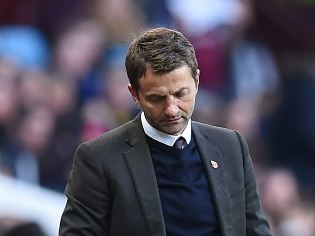 Aston Villa's English manager Tim Sherwood reacts after his team concede their second goal during the English Premier League football match between Aston Villa and Swansea City at Villa Park in Birmingham, central England on October 24, 2015