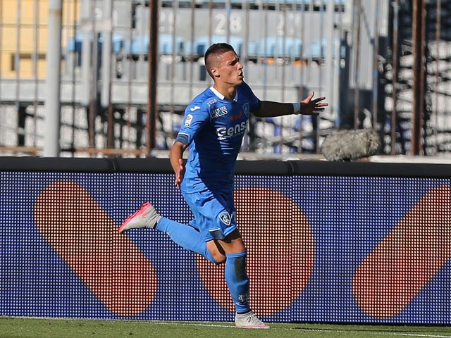 Rade Krunic of Empoli FC celebrates after scoring a goal during the Serie A match between Empoli FC and Genoa CFC at Stadio Carlo Castellani on October 24, 2015
