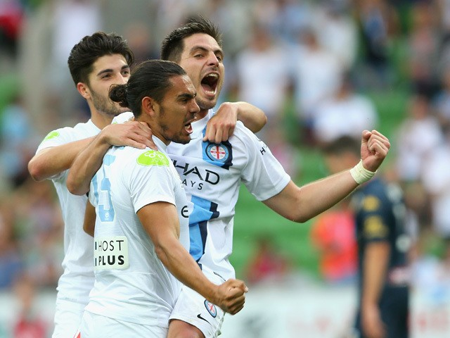 Bruno Fornaroli of City is congratulated by Paulo Retre and David Williams after scoring a goal during the round three A-League match between Melbourne City FC and the Central Coast Mariners at AAMI Park on October 25, 2015