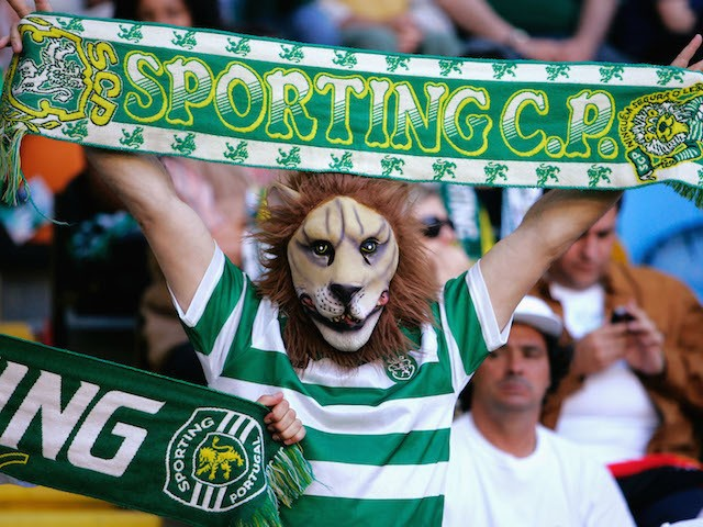 A Sporting Lisbon fan shows their support during the UEFA Cup Final between CSKA Moscow and Sporting Lisbon at the Jose Alvalade Stadium May 18, 2005. Lisbon, Portugal.
