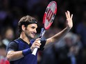 Roger Federer of Switzerland celebrates his victory following the sixth day of the Swiss Indoors ATP 500 tennis tournament against Jack Sock of US at St Jakobshalle on October 31, 2015 in Basel, Switzerland.