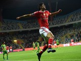 Benfica's forward Goncalo Guedes celebrates after scoring a goal during the Portuguese league football match CD Tondela vs SL Benfica at the Aveiro Municipal stadium in Aveiro on October 30, 2015