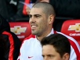 Victor Valdes in the Manchester United dugout on January 11, 2015