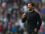 Quique Flores manager of Watford gestures during the Barclays Premier League match between Watford and West Ham United at Vicarage Road on October 31, 2015