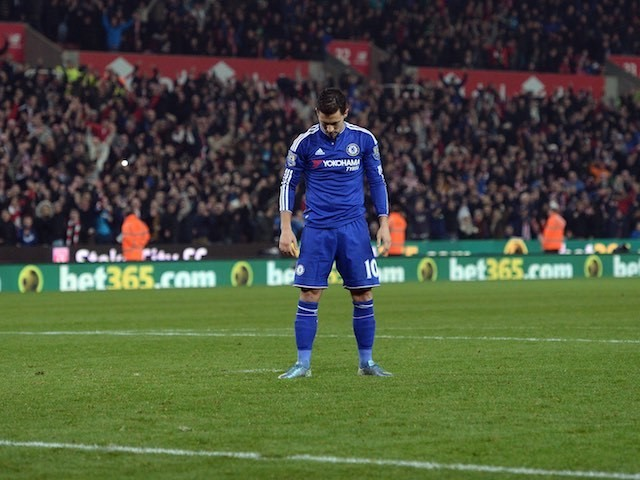 Eden Hazard hangs his head after missing a penalty to see Chelsea crash out of the League Cup to Stoke City on October 27, 2015