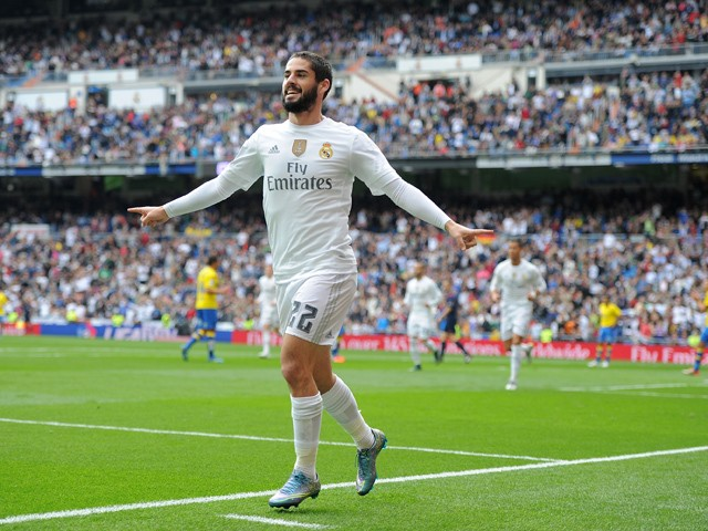 Isco of Real Madrid celebrates after scoring his team's opening goal during the La Liga match between Real Madrid CF and UD Las Palmas at Estadio Santiago Bernabeu on October 31, 2015