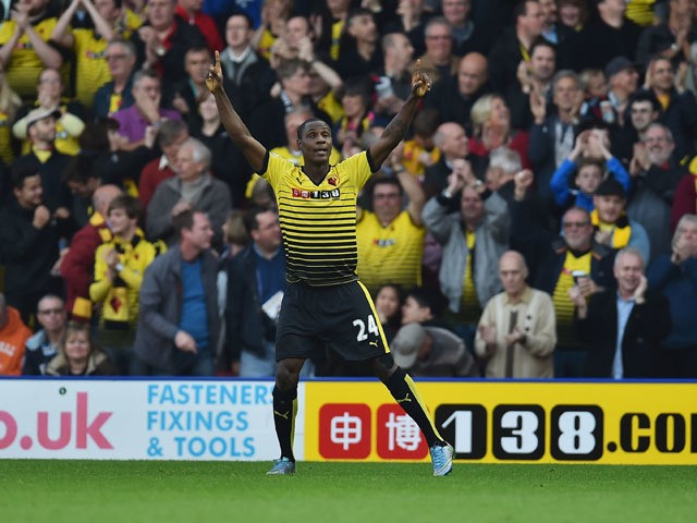 Odion Ighalo of Watford celebrates scoring his team's second goal during the Barclays Premier League match between Watford and West Ham United at Vicarage Road on October 31, 2015