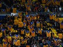 FC Barcelona supporters hold Pro-Independence Catalan flags during the UEFA Champions League Group E match between FC Barcelona and FC BATE Borisov at the Camp Nou on November 4, 2015