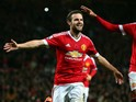 Juan Mata of Manchester United celebrates scoring his team's second goal during the Barclays Premier League match between Manchester United and West Bromwich Albion at Old Trafford on November 7, 2015 in Manchester, England.