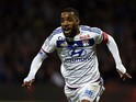 Lyon's French forward Alexandre Lacazette celebrates after scoring a second goal during the French L1 football match between Lyon and Saint-Etienne at the Gerland stadium in Lyon, southeastern France, on November 8, 2015