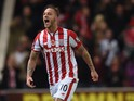 Stoke City's Austrian striker Marko Arnautovic celebrates after scoring the opening goal of the English Premier League football match between Stoke City and Chelsea at the Britannia Stadium in Stoke-on-Trent, central England on November 7, 2015.