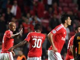 Benfica's Brazilian defender Luisao (L) celebrates after scoring a goal during the UEFA Champions League football match SL Benfica v Galatasaray AS at the Luz stadium in Lisbon on November 3, 2015