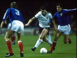 Chris Waddle of England in action during the European Championship qualifying match against Yugoslavia at Wembley Stadium in London. England won the match 2-0.