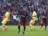 Barcelona's Brazilian forward Neymar da Silva Santos Junior (C) celebrates his goal during the Spanish league football match FC Barcelona vs Villarreal CF at the Camp Nou stadium in Barcelona on November 8, 2015.
