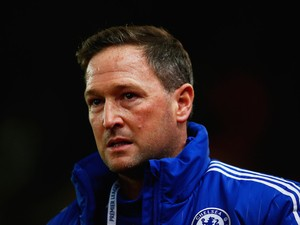 Chelsea first team assistant coach Steve Holland looks on prior to the Barclays Premier League match between Stoke City and Chelsea at Britannia Stadium on November 7, 2015 in Stoke on Trent, England.
