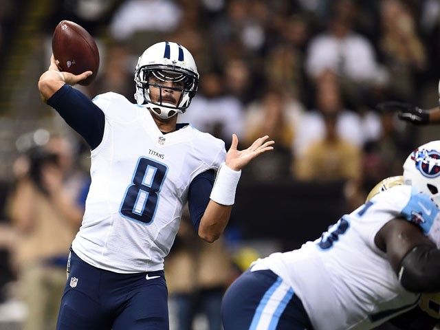 Marcus Mariota #8 of the Tennessee Titans drops back to pass during the first quarter of a game against the New Orleans Saints at the Mercedes-Benz Superdome on November 8, 2015