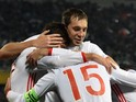 Russia's forward Artem Dzyuba (C) and teammates celebrate a goal during the friendly football match between Russia and Portugal in Krasnodar on November 14, 2015.