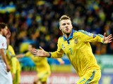 Andriy Yarmolenko from Ukraine celebrates after scoring the first goal during the UEFA EURO 2016 Play-off for Final Tournament, First leg between Ukraine and Slovenia at Lviv Arena on November 14, 2015 in Lviv, Ukraine.