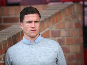 Gary Caldwell the manager of Wigan Athletic in action during the pre season friendly between Altrincham and Wigan Athletic at the J Davidson stadium on July 14, 2015