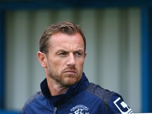 Gary Rowett of Birmingham City looks on during the pre season friendly match between Nuneaton Town and Birmingham City at the James Parnell Stadium on July 14, 2015