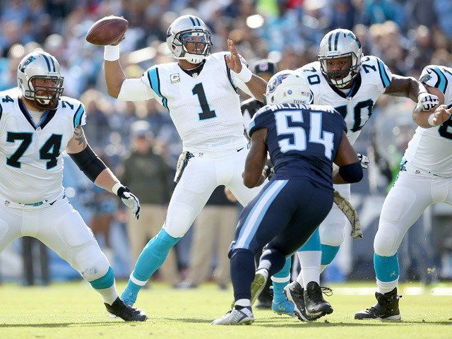 Cam Newton #1 of the Carolina Panthers throws a pass during the first quarter against the Tennessee Titans at LP Field on November 15, 2015